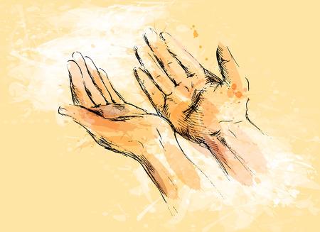 Bosquejo de mano coloreado mendigando las manos