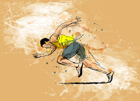 Colored hand sketch running man  イラスト・ベクター素材