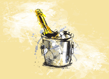 Colored hand sketch champagne Illustration