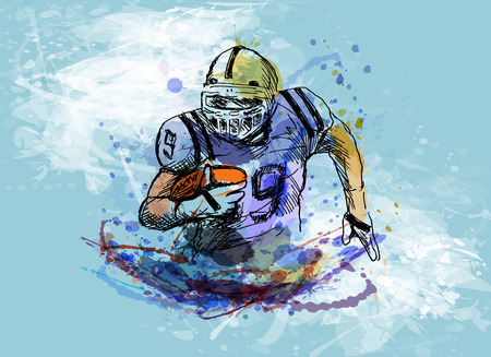 Colored hand sketch of american football player Reklamní fotografie - 86537580