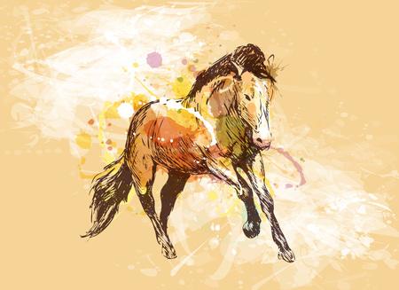 実行中の馬の色手スケッチ  イラスト・ベクター素材