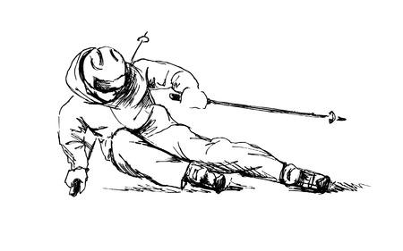 Hand sketch skier