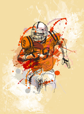 Colorful sketch player of american football
