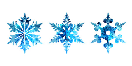 Watercolor silhouettes of snowflakes Ilustrace