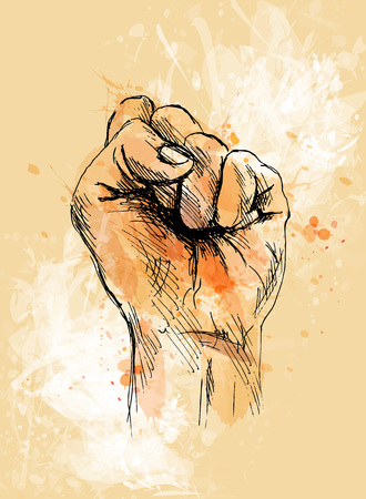 Colored hand sketch clenched hand Illustration