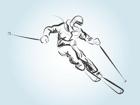 Sketch skier Illustration