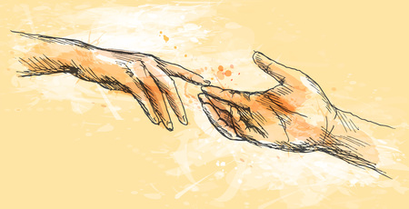 Colored sketch touching hands