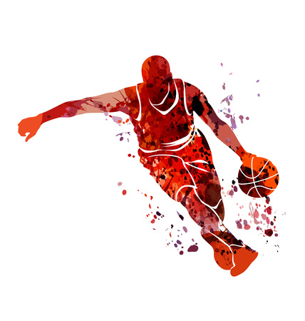 Watercolor silhouette basketball player