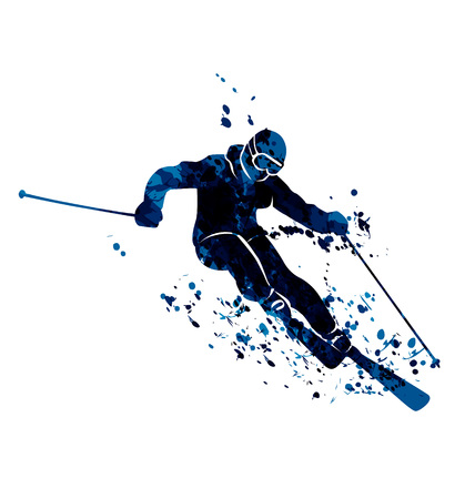 Watercolor silhouette skier