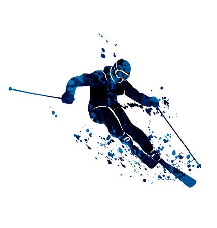 Watercolor silhouette skier