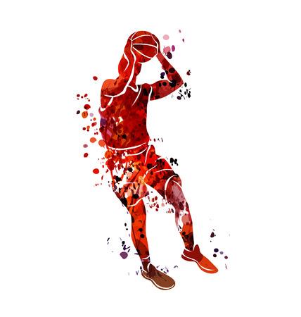Aquarel silhouet basketbal speler