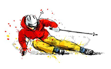 Colored hand sketch skier vector illustration. Vettoriali
