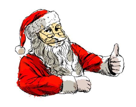 着色された手は、サンタ クロースのベクトル図をスケッチします。  イラスト・ベクター素材