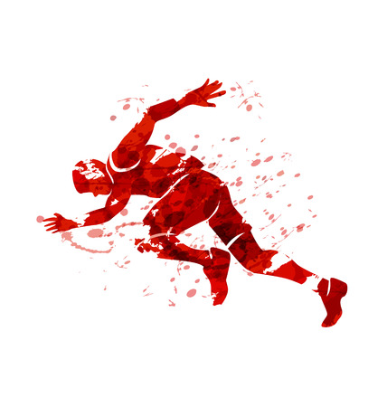 Red silhouette of a running man vector.