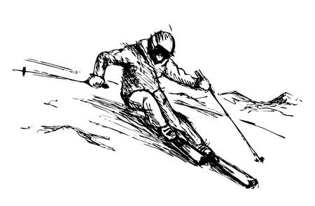 手は、山のベクトル図にスキーヤーをスケッチします。  イラスト・ベクター素材