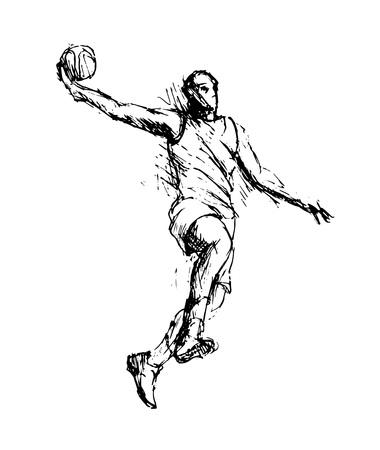 Hand sketch basketball player vector illustration.
