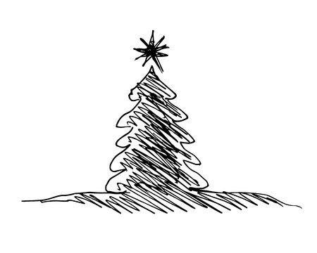 Hand sketch silhouette of a Christmas tree vector illustration.