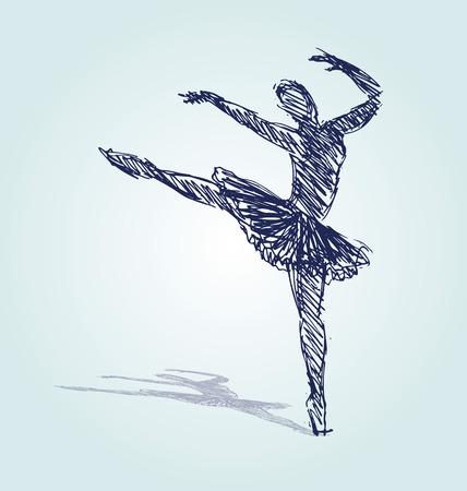 Dé el ejemplo del vector del bailarín de ballet de la silueta del bosquejo. Foto de archivo - 87111134