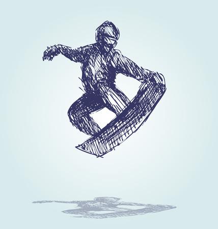Hand Sketch Snowboard Silhouette vector illustration. Иллюстрация