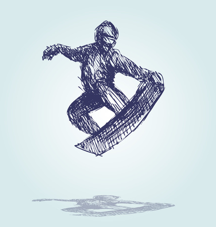 Hand Sketch Snowboard Silhouette vector illustration. Illustration