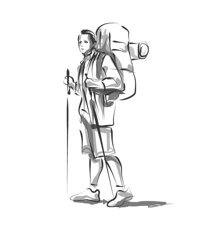 Vector line sketch of a mountain tourist