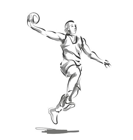 벡터 라인 스케치 농구 선수