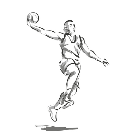 Vector line sketch basketball player Imagens - 87611108