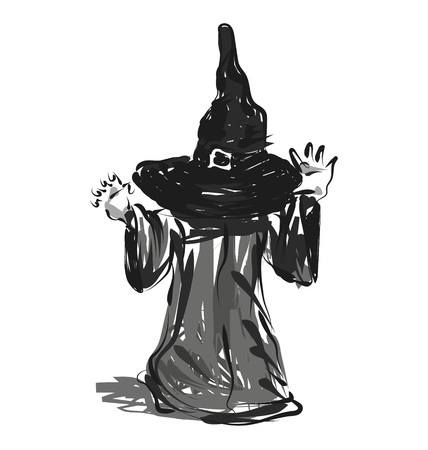 Vector line sketch of a child in a Halloween costume
