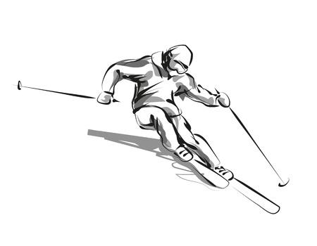 Vector line sketch skier