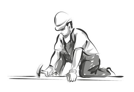 Vector line sketch worker