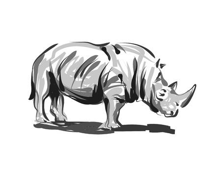 벡터 라인 스케치 코뿔소 일러스트