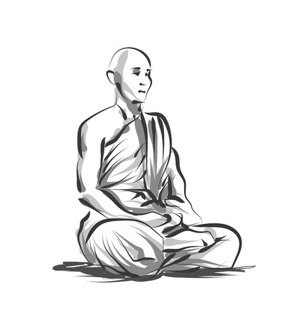 Vector lijnschets mediterende monnik