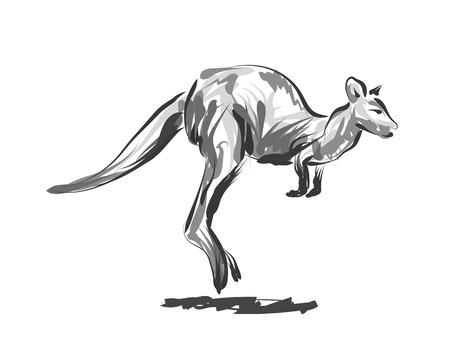 ベクトル線スケッチ跳躍カンガルー