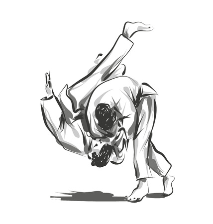Vector line sketch fighting judo