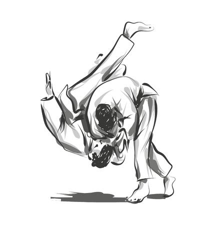Wektor linii szkic walki judo