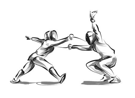 Vector line sketch fencers Imagens - 87611120