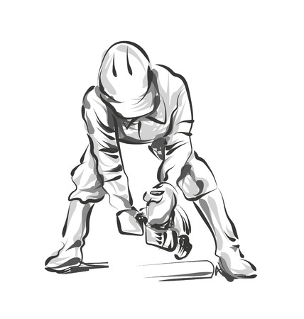 Vector line sketch construction worker