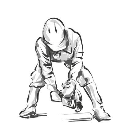 Vector line sketch construction worker Imagens - 87611121