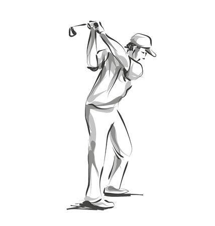 ベクトル線スケッチ ゴルファー