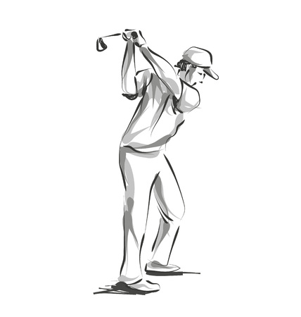 Vector line sketch golfer