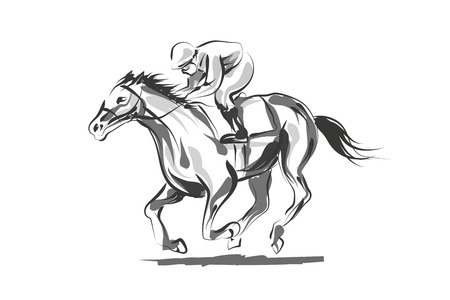 Vector line sketch rider with a horse