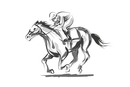 Vector lijnschetsrijder met een paard Stock Illustratie