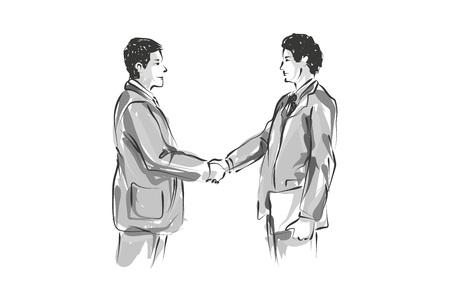 Bosquejo de línea de vector de dos hombres de negocios
