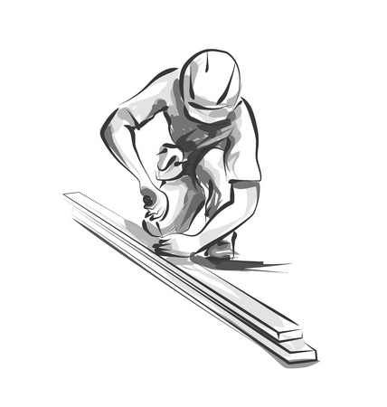 Vector line sketch worker at work