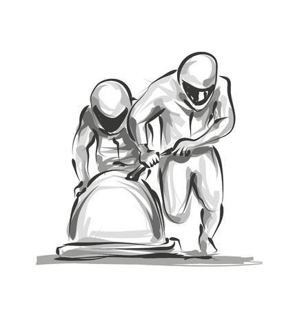Bobsleighers de croquis numériques de vecteur