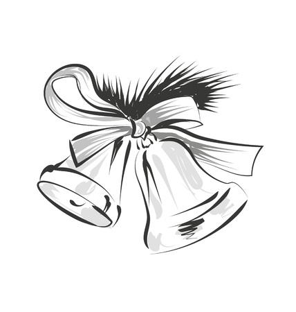 Croquis de ligne de vecteur de cloches de Noël Banque d'images - 88075558
