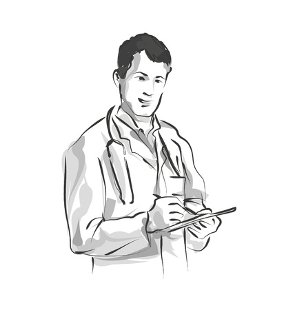 Vector line sketch Doctor Illustration