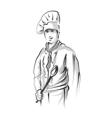 Vector lijn schets chef-kok