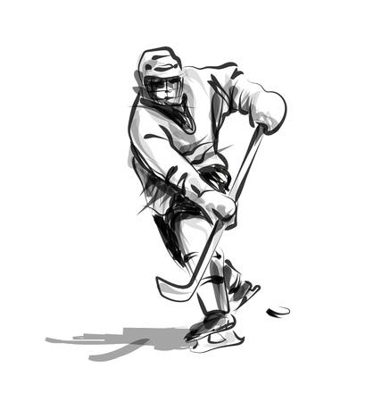 ベクトル線スケッチ ホッケー選手