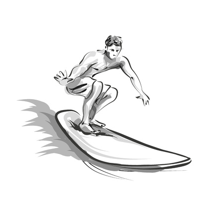 Vector line sketch Surfer 向量圖像